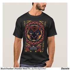 Black Panther Panther Head Tribal Pattern T-Shirt, Men's, Size . T Shirt Art, Tee Shirt, Black Panther Face, Black Panther Marvel, Boys Hoodies, Tshirt Colors, Colorful Shirts, Shirt Designs, Mens Tops