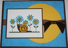 I love both of these sets and I had fun making this card!  The snail shell is cut with the smalles die from Yo-Yo Yellow and then stamped and covered with crystal effects.