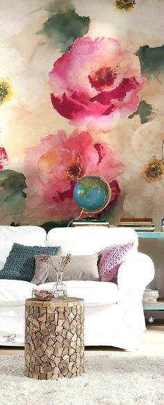 A floral wall mural will add an elegant and classic touch to any part of your home. Here the pink floral wall is placed in a living room against a white sofa, with complementary teal, purple and grey pillows to complete the look. Wallpaper Collection, Vibeke Design, Interior And Exterior, Interior Design, Home And Deco, Wall Treatments, Wall Murals, Wall Art, Diy Wall