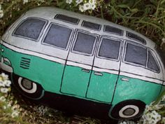 Pearl White and Mint Green VW Volkswagen Bus Painted by Rhocolate
