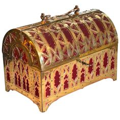 Fabulous Brass and Red Copper Gothic Revival Jewelry Casket | From a unique collection of antique and modern jewelry boxes at https://www.1stdibs.com/furniture/more-furniture-collectibles/jewelry-boxes/