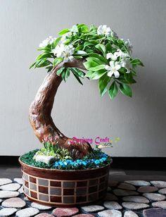 Bonsai- Artificial Bonsai-Orange jasmine-mini tree- small tree-white flower-artificial bonsai tree-Home decor- Office decor-interior Jasmine Tree, Clematis Armandii, Mini Roses, Green Gifts, Handmade Home, Handmade Gifts, Clay Flowers, Small Trees, Air Dry Clay