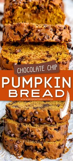 This Homemade Pumpkin Bread is extra delicious, supremely moist, and bursting with fall flavors! So easy to make and a guaranteed hit with friends and family this holiday season. Bonus: No mixer needed! This easy pumpkin chocolate chip bread recipe is sure to become a new family favorite. // Mom On Timeout #pumpkinbread #pumpkin #bread #chocolate #fall #thanksgiving #baking #recipes Fall Baking, Holiday Baking, Christmas Baking, Autumn Recipes Baking, Thanksgiving Baking Ideas, Easy Holiday Recipes, Thanksgiving 2020, Fall Recipes, Pumpkin Chocolate Chip Bread