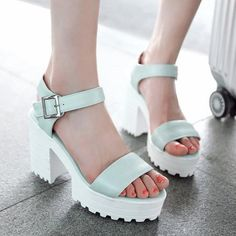 Stylish Platform and PU Leather Design Women's Sandals