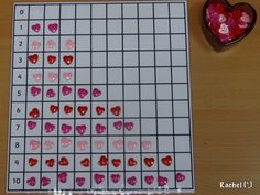 """Counting hearts (free printable grid) from Rachel ("""",)"""