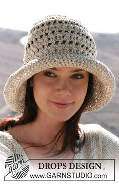 "DROPS 107-14 by DROPS Design  ""Trendy head wear that protect you from the burning sun...""  Crochet DROPS hat in ""Cotton Viscose"" and ""Bomull-Lin"". Size S/M – M/L.  free Pattern"