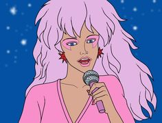 Jem is excitement! Remember her???? I used to want to do eye makeup like that!