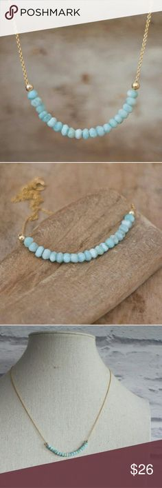 """Larimar Beaded Necklace 18"""" adjustable gold dipped chain Jewelry Necklaces"""