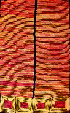 Ronnie Tjampitjinpa ~ Tingari - Fire Dreaming, 2012. Aboriginal art red orange yellow