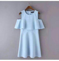 Vestido con olanes 2016 Peplum, Cold Shoulder Dress, How To Wear, Blouses, Dresses, Clothing, Diy, Women, Ideas