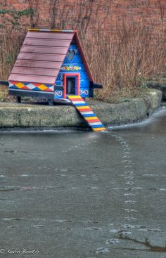 Brightly coloured duck house down by the canal, check out the tiny tracks on the ice! Backyard Ducks, Ponds Backyard, Chickens Backyard, Backyard Waterfalls, Garden Ponds, Koi Ponds, Duck House Plans, Goose House, Duck Coop