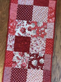 Table Runner 13.5 x 40.5 red and gray table runner