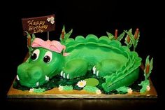 Girly Alligator Birthday cake uploaded by Amanda Alligator Cupcakes, Alligator Cake, Alligator Party, Crocodile Cake, Crocodile Party, Alligator Birthday Parties, Jungle Theme Birthday, Swamp Party, Cool Birthday Cakes