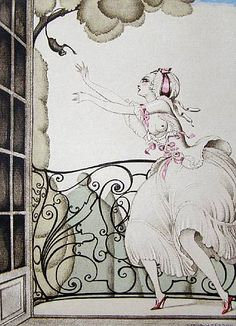 Gerda Wegener, Sur Talons Rouges 1929. Coloured etching. character in Allatini's short tales.