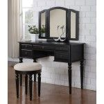 Poundex Furniture - Black Vanity With Stool - F4072  SPECIAL PRICE: $419.00