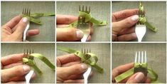 Mini Bow With Fork Easy Video Tutorial Ribbon Art, Diy Ribbon, Ribbon Crafts, Mummy Crafts, Crafts To Make, Diy Crafts, Quick Crafts, Fork Bow, Ribbon Bow Tutorial