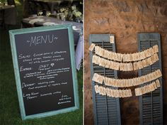 Love a good DIY name-card table display! Katie's father handwrote place cards on tea-stained mailing labels that were displayed on antique shutters! Groom Michael filled the chalkboard menu with their delicious menu from Monterey Gourmet in Bernardsville