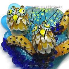 ANASTASIA-lampwork-bead-1-focal-OWL-TRIO-SRA