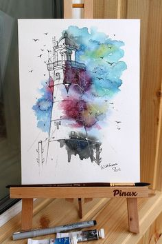 Lighthouse Original watercolour painting on aquaell paper cm. Watercolor Pencil Art, Watercolor Artwork, Lighthouse Painting, Abstract Drawings, Bunt, Painting Prints, Painting Flowers, Chalk Pastels, Watercolor Techniques