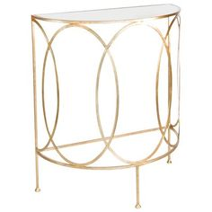 Worlds Away Antoine Demi Lune Console Table in Gold Leaf