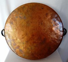 Antique STAMPED E.A.A. Arts & Crafts Hand-Wrought Copper  Pan with Ornate Handle #EAA
