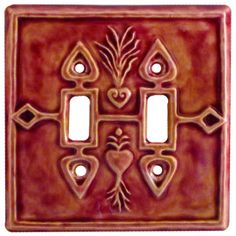 Crest Of Hearts Design Ceramic Art Double Toggle Switch Plate Sculpted By Artist Beth Sherman