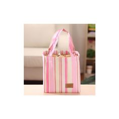Square Striped Insulation Lunch Bag Waterproof Drawstring Bag Ice Pack... (605 RSD) ❤ liked on Polyvore featuring home, kitchen & dining, food storage containers, pink, pink cooler, pink lunch box, striped lunch bag and colored lunch bags