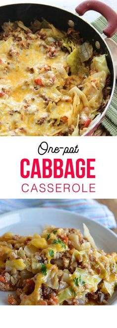 One-Pot Cabbage Casserole . use cauliflower rice instead of regular rice to make it keto! Ww Recipes, Low Carb Recipes, Cooking Recipes, Healthy Recipes, Recipies, Food Dishes, Main Dishes, Quiche, Pasta
