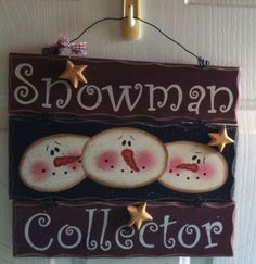 Beautiful Hand Painted Snowman Collector Sign from A Craft Fair Wood Wooden | eBay