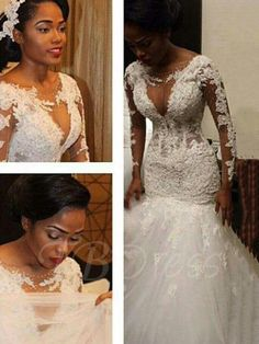 Trumpet/Mermaid V-neck Long Sleeves Lace Floor-Length Tulle Wedding Dresses - Plus Size Wedding Dresses - Wedding Dresses - Hebeos Online Tulle Wedding Gown, Wedding Dress Train, Lace Mermaid Wedding Dress, Long Wedding Dresses, Long Sleeve Wedding, Perfect Wedding Dress, Mermaid Dresses, Bridal Dresses, Lace Wedding