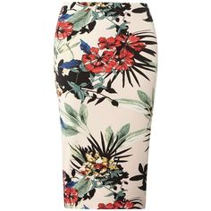 Dorothy Perkins Floral Scuba Column Skirt (€35) ❤ liked on Polyvore featuring skirts, blush, floral printed skirt, pink floral skirt, floral print skirt, floral skirt and floral knee length skirt