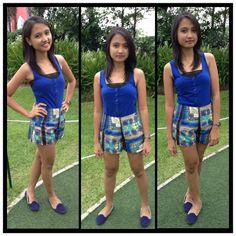 Blue scarf shorts