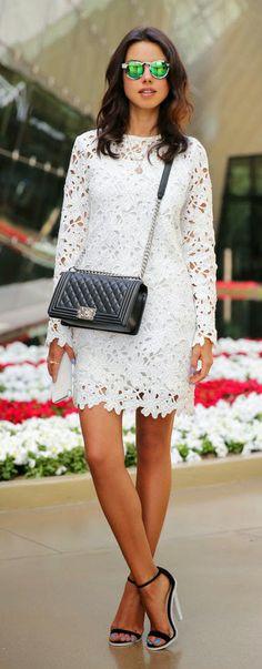 Nice Look   Full Flower Cut Crochet White Dress