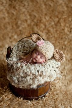 Little Lamb Hat Baby Photohraphy Prop Sizes Preemie, Newborn, 0-3 months, 3-6 months by Babies Bugs And Bees