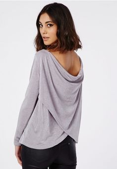 Heavyweight Knitted Slinky Wrap Back Long Sleeve Top Grey - Tops - Going Out Tops - Missguided