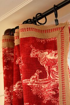 Curtains with upholstery webbing and coordinating pillow