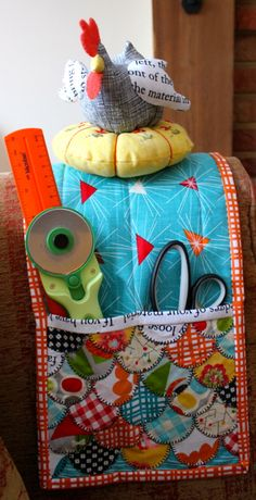Armchair pincushion and sewing caddy | the running chicken quilting