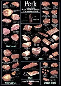 Schwein im jahr?Chart of Pork Cuts -- very informative Grilling Recipes, Pork Recipes, Cooking Recipes, Pork Sirloin Recipes, Cooking Tips, Smoker Recipes, Grilling Tips, Pork Cuts Chart, Roasted Ham