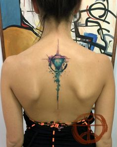 circle&triangle watercolor tattoo on upper back - geometric tattoo
