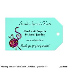 Knitting Business Thank You Customer Tags