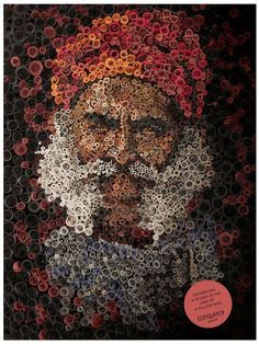 amazing mosaic portrait with rolled up paper....Could do this with cereal boxes, buttons, puzzle pieces, etc...