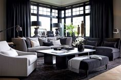 small living room furniture layout with fireplace Masculine Living Rooms, Elegant Living Room, Living Room Grey, Home Living Room, Living Room Designs, Living Room Decor, Living Spaces, Living Area, Masculine Interior