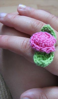 Girl's Crochet Ring + Earings  - #art, #diy, craft