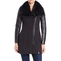 Rudsak Coyote Fur-Collared Coat ($556) ❤ liked on Polyvore featuring outerwear, coats, black, fur coat, black fur collar coat, fur collar coat, leather sleeve coat and rudsak