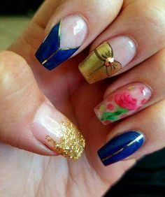 Beauty And The Beast Quinceanera Nails _ Beauty And The Beast Quinceanera Beauty And The Beast Nails, Beauty And Beast Wedding, Beauty And The Best, Beauty Beast, Cute Nails, Pretty Nails, Hair And Nails, My Nails, Belle Nails