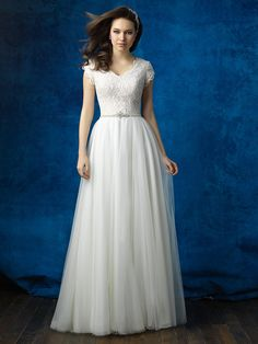 Allure Modest M564 Cap Sleeve Lace Bodice Tulle A-Line Wedding Dress – Off White