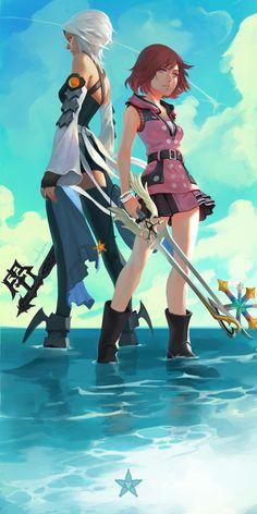 Kingdom Hearts Aqua and Kairi Kingdom Hearts Games, Kingdom Hearts Fanart, Disney Kingdom Hearts, Kingdom Hearts Characters, One Punch Man, Kingdom Hearts Wallpaper, V Video, Video Game Art, Vanitas