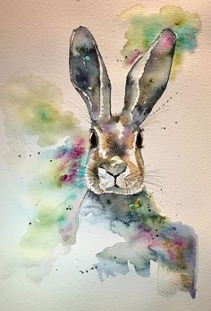 Thank you for viewing my hare painting! This is an original watercolour painting with pen detailing. It is a one-off unique piece of art work, not a print. Animal Paintings, Animal Drawings, Art Drawings, Bunny Painting, Painting & Drawing, Watercolor Animals, Watercolor Art, Watercolor Projects, Easter Drawings