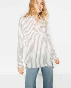 Image 2 of LONG STRIPED BLOUSE from Zara