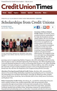 Credit Union Times | Scholarships from Credit Unions | July 16, 2012  -  Click to read the full article, including info about Consumers' Dollars for Scholars.